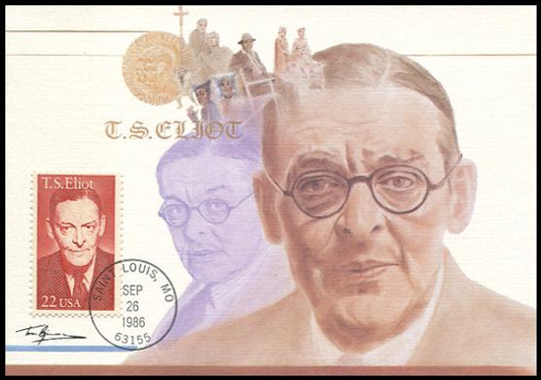 2239 / 22c T. S. Eliot 1986 Fleetwood First Day of Issue Maximum Card