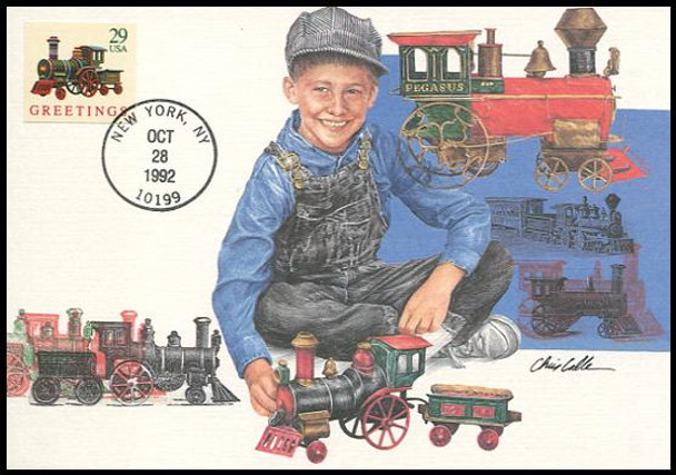 2719 / 29c Locomotive ATM Self-Adhesive : Christmas Series 1992 Fleetwood First Day of Issue Maximum Card
