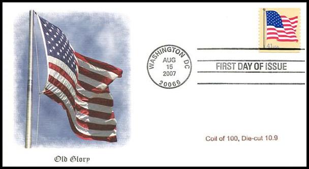 4187 / 41c US Flag Single Coil of 100, Die-Cut 10.9 Fleetwood 2007 FDC