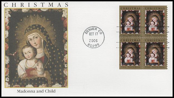 4100 / 39c Chacon Madonna and Child with Bird Block: Holiday Celebration Series Fleetwood 2006 FDC