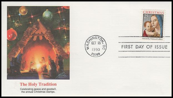 2514 / 25c Madonna and Child Sheet 1990 Fleetwood First Day Cover