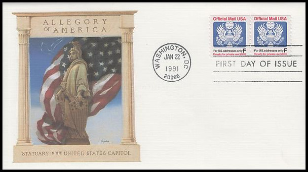 O144 / F Rate ( 29c ) Official Mail Coil Pair 1991 Fleetwood First Day Cover