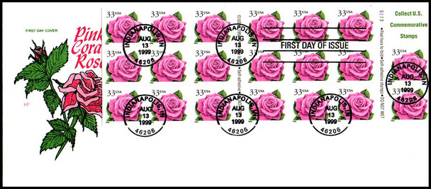 3052d / 33c Coral Pink Rose Booklet Pane of 20 with backing 1999 House Of Farnam FDC
