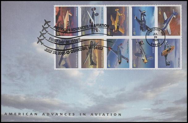 3925a / 37c Advances in Aviation : Oshkosh, WI Postmark Se-Tenant Block of 10 Oversized Large Format Fleetwood 2005 FDC
