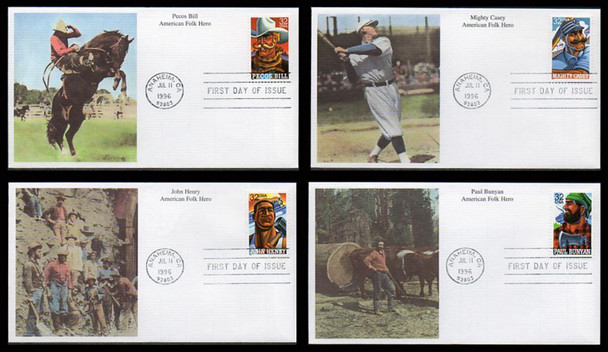 3083 - 3086 / 32c American Folk Heroes Set of 4 Mystic 1996 First Day Covers