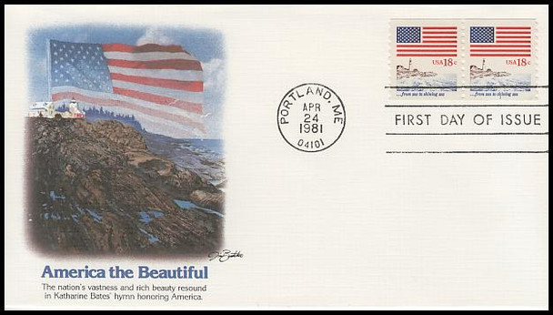 1891 / 18c Flag Over Seacoast Coil Pair PNC #1 Fleetwood 1981 FDC