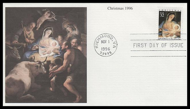 3107 / 32c Madonna and Child painting by Paolo de Matteis Sheet Issue Christmas 1996 Mystic First Day Cover
