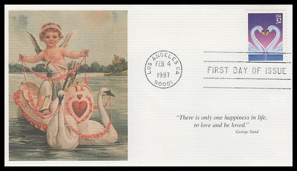 3123 / 32c Love Swans : Love Stamp Series 1997 Mystic First Day Cover
