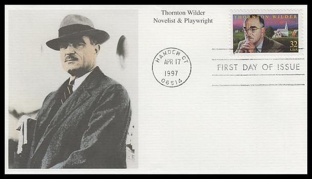3134 / 32c Thornton Wilder : Novelist and Playwright 1997 Mystic FDC