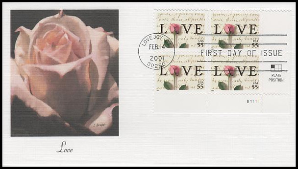 3499 / 55c Rose & Love Letters : Love Stamp Series Plate Block 2001 Fleetwood First Day Cover