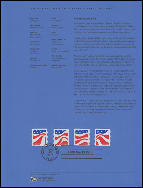 4894 - 4897 / 49c Red, White, and Blue Flags 2014 USPS Souvenir Page #1424
