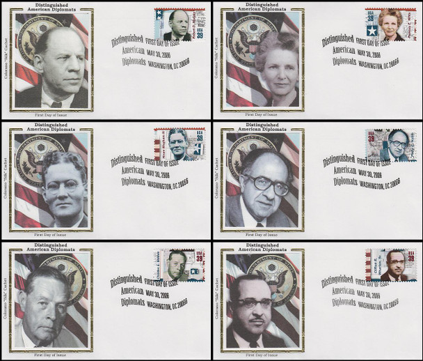 4076 a - f / 39c Distinguished American Diplomats Set of 6 Colorano Silk 2006 FDC