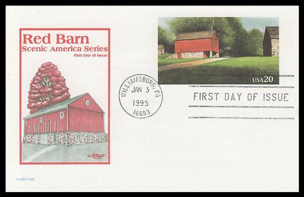 UY41 / 20c + 20c Red Barn Reply : Scenic American Landmarks Series 1995 Artmaster Postal Card