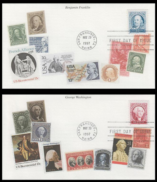 3139a - 3140a / 50c and 60c Pacific '97 Singles Set of 2 Mystic 1997 FDCs