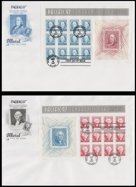 3139 - 3140 / 50c and 60c Pacific '97 Full Sheets Set of 2 With Blue and Black Cachet Artcraft 1997 FDCs