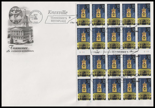 3071a / 32c Tennessee Statehood Bicentennial Pane of 20 Knoxville Postmark 1996 Artcraft FDC
