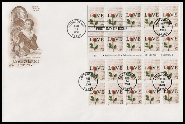 3497a / 34c Rose & Love Letters : Love Stamp Series Convertible Booklet Pane of 20 Fleetwood 2001 FDC