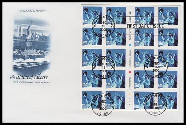 3451a / Non-Denominated 34c Statue of Liberty Booklet Pane of 20 Artcraft 2000 FDC
