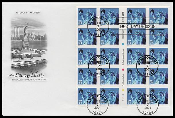 3485b / 34c Statue of Liberty PSA Booklet Pane of 20 Artcraft 2001 FDC