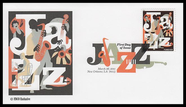 4503 / 44c Jazz Digital Color Postmark 2011 FDCO Exclusive FDC