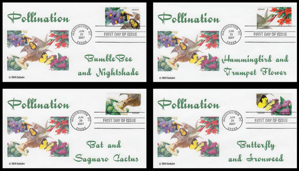 4153 - 4156 / 41c Pollination Set of 4 FDCO Exclusive 2007 First Day Covers