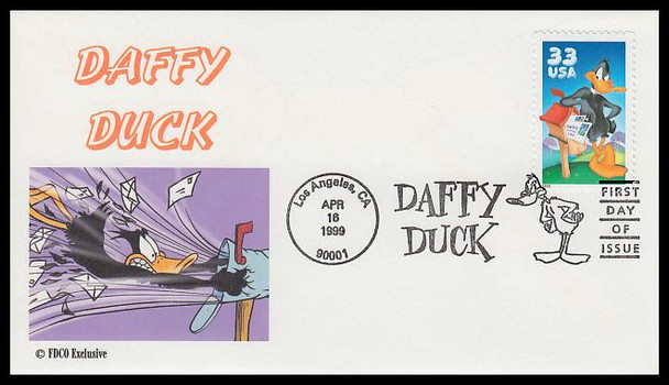 3306a / 33c Daffy Duck : Looney Tunes Add-On Cachet FDCO Exclusive FDC