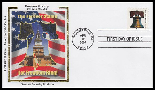 4127 / 41c Non-Denominated Liberty Bell Vending Bklt SSP Colorano Silk 2007 FDC