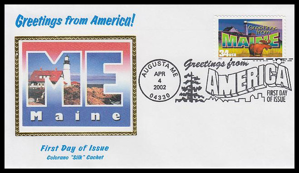 3579 / 34c Maine : Greetings From America Augusta, ME Postmark Colorano Silk 2002 First Day Cover