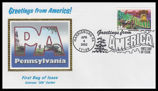 3598 / 34c Pennsylvania : Greetings From America Harrisburg, PA Postmark Colorano Silk 2002 First Day Cover