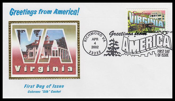 3606 / 34c Virginia : Greetings From America Richmond, VA Postmark Colorano Silk 2002 First Day Cover