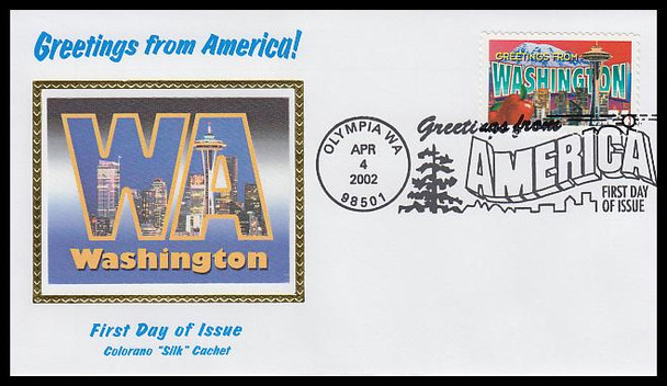3607 / 34c Washington : Greetings From America Olympia, WA Postmark Colorano Silk 2002 First Day Cover