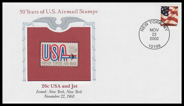 C75 / 20c USA and Jet PCS Commemorative Cover 2002 and Info Card