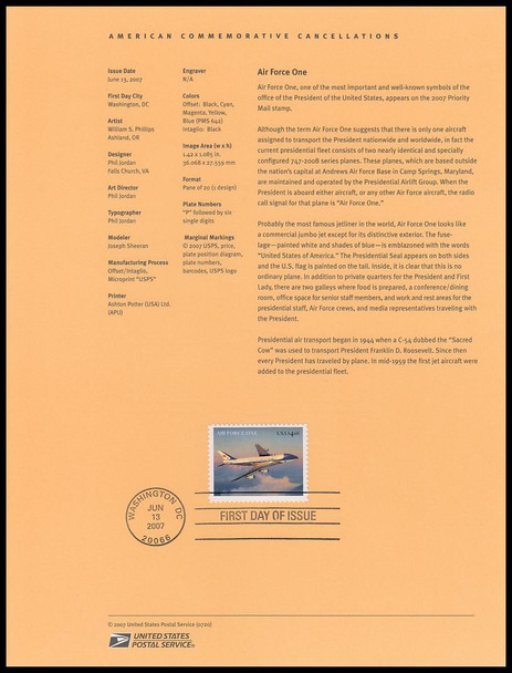 4144 / $4.60 Air Force One Priority Mail 2007 USPS #07-20 Souvenir Page
