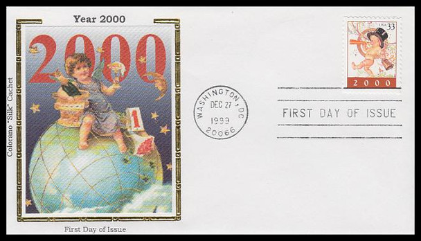 3369 / 33c Year 2000 Happy New Year 1999 Colorano Silk First Day Cover