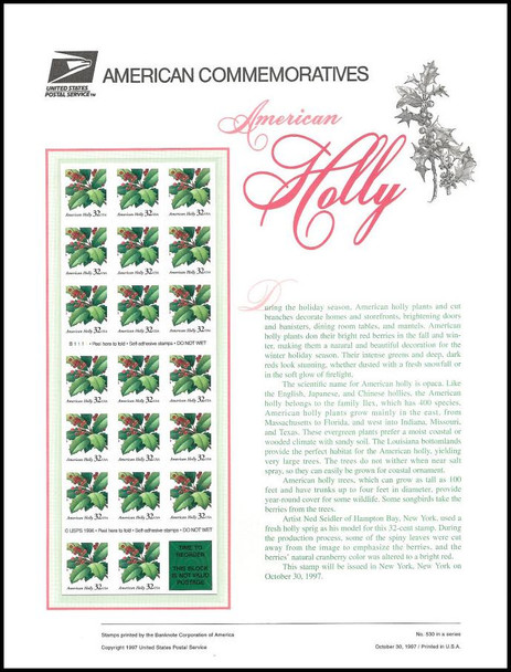 3177a / 32c American Holly Booklet Pane of 20 / 1997 USPS American Commemorative Panel Sealed #530