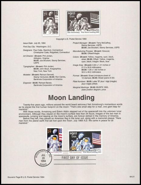 2841a - 42 / 29c & $9.95 Moon Landing Express Mail  1994 USPS #94-21 Souvenir Page