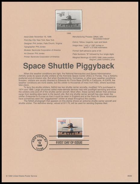 3262 / $11.75 Space Shuttle Piggyback Express Mail 1998 USPS #9839 Souvenir Page