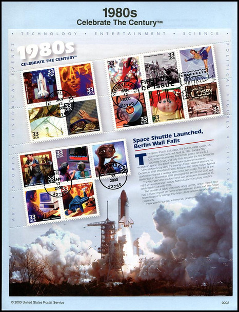 3182 - 3191 / 32c - 33c Celebrate The Century ( CTC ) Complete Sheets Set of 10 USPS Souvenir Pages