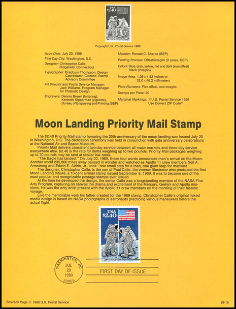 2419 / $2.40 Moon Landing Priority Mail 1989 USPS #89-19 Souvenir Page