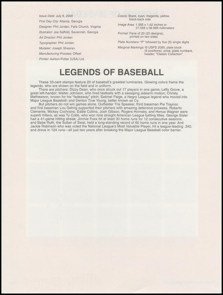 3408 / 33c Legends of Baseball Pane of 20 : 2000 USPS #0020 Souvenir Page