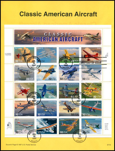 3142 / 32c Classic American Aircraft Pane of 20 : 1997 USPS #9718 Souvenir Page