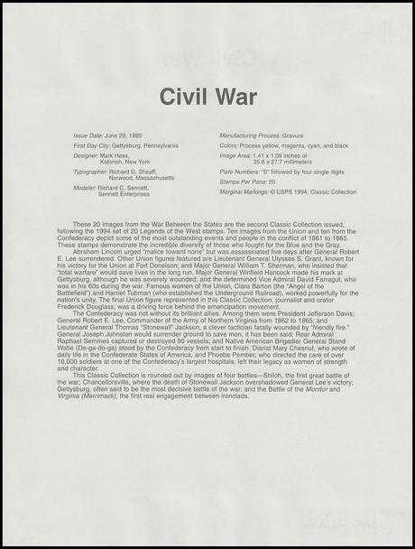2975 / 32c Civil War Pane of 20 : 1995 USPS #9527 Souvenir Page