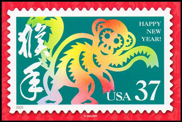 Year of the Monkey - Chinese Lunar New Year Collectible Postcard