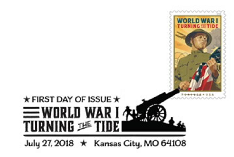 World War I: Turning the Tide Stamp Black and White Pictorial Postmark