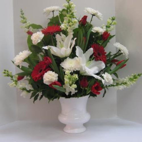 Red and White Urn