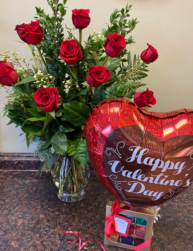 12 Red roses with 9 piece chocolate truffles and a balloon