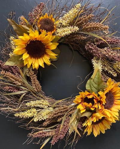 Sunflower and Millet Silk Wreath