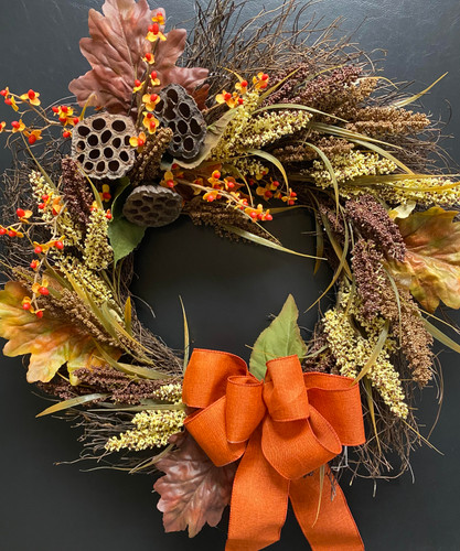 Faux Bittersweet and Pods Wreath