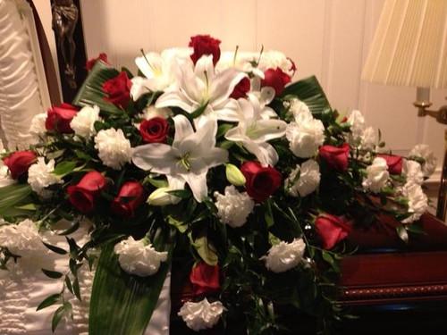 Roses & Lilies Casket Spray