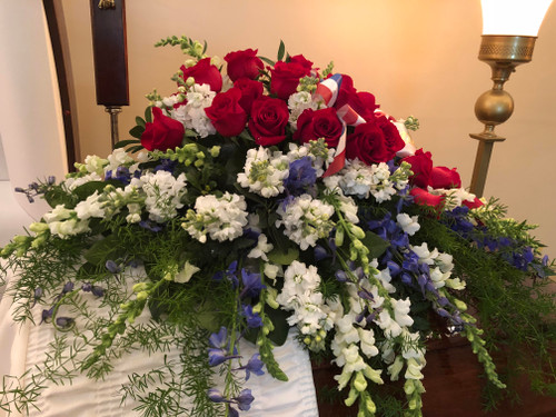 Red, White and Blue Casket Spray
